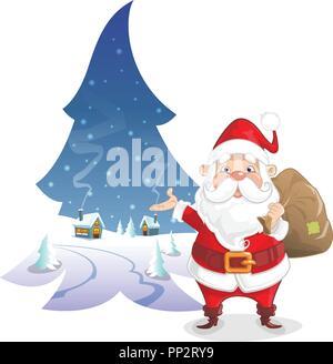 Illustration de Noël - paysage d'hiver en forme de pin avec le Père Noël mignon