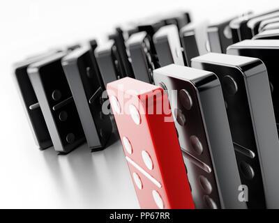 Pièces Domino debout dans une ligne. 3D illustration. Banque D'Images