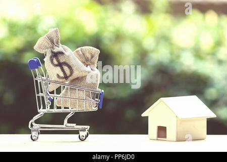 Maison de prêt, les prêts hypothécaires, de la dette, l'épargne de l'argent pour l'achat d'une maison concept: US dollar argent sac dans votre panier, résidentiel, maison sur le tableau contre green na