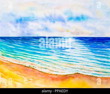 Seascape aquarelle peinture originale de couleur sur la mer, de la plage et le ciel,fond de nuage le matin lumineux, la beauté de la nature saison. Impressionner peint