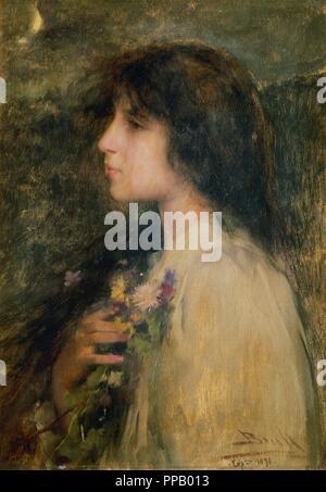 Joan Brull (1868-1912). Peintre moderniste espagnol. La rêverie. 1906. Cercle du Lyceum. Barcelone. La Catalogne. L'Espagne. Banque D'Images