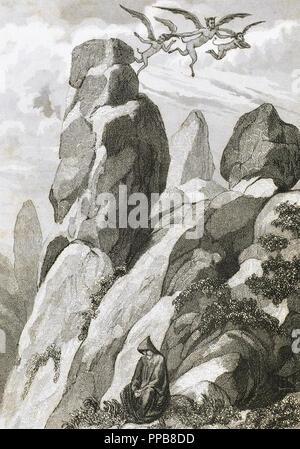 Légende de Fray Juan Garin, ermite de Montserrat. Fray Garin méditant sur la montagne de Montserrat. Province de Barcelone. La Catalogne. L'Espagne. Gravure du 19ème siècle. Banque D'Images