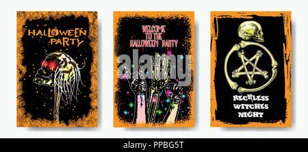 Ensemble de six affiches Halloween style dessiné à la main avec des dessins et des symboles d'Halloween la calligraphie. Flyers colorés et invitation à une fête. Vecteur. Banque D'Images