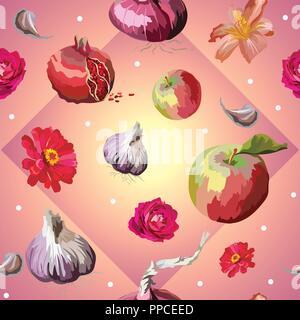 Vector illustration en couleur. Modèle intégré de différentes fleurs, légumes et fruits pomme, rose, l'ail, grenade, isolé sur gradie rose Banque D'Images
