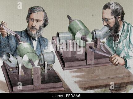 Phonographe. Créé en 1877 par Thomas Alva Edison (Milan, Ohio, 1847-West Orange, 1931). Gravure en couleur. Banque D'Images