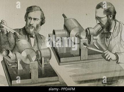 Phonographe. Créé en 1877 par Thomas Alva Edison (Milan, Ohio, 1847-West Orange, 1931). La gravure. Banque D'Images