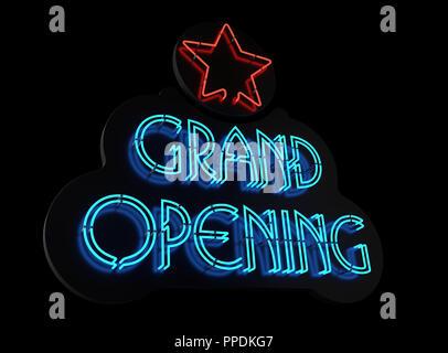 Signe d'ouverture grand néon. 3D illustration
