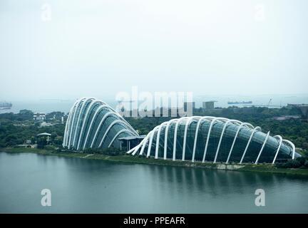 Vue aérienne de la Véranda, le complexe de la forêt de nuages et Dôme de fleurs dans les jardins de la baie Marina Reservoir Singapour République de Singapour Asie Banque D'Images