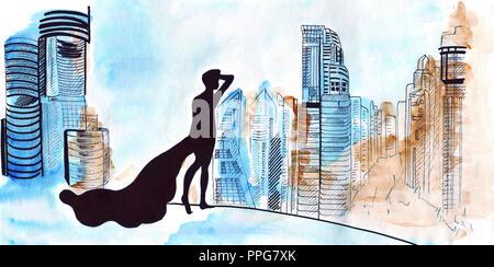 Marqueurs à la main et les peintures d'un modèle dans une robe longue, debout devant une grande nuit sur la ville avec des gratte-ciel