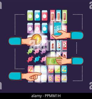 A l'aide du distributeur électronique mains machines vector illustration design Banque D'Images