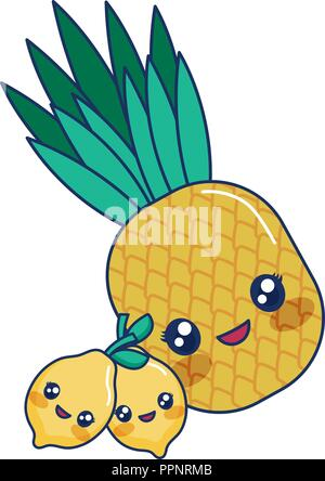 Funny Cartoon Illustration Fruits Ananas Banque Dimages