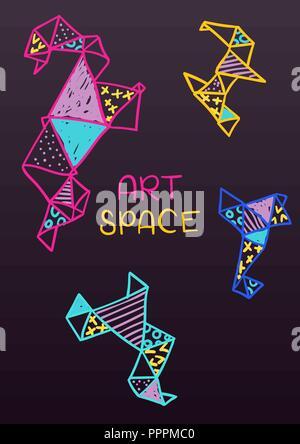 Vector hand drawn doodle carte postale en style pop art Banque D'Images