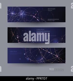 Bannières de Molécules abstraites définies avec cercles,lignes,géométriques,Polygone. Fond de communication réseau de conception vectorielle. Banque D'Images