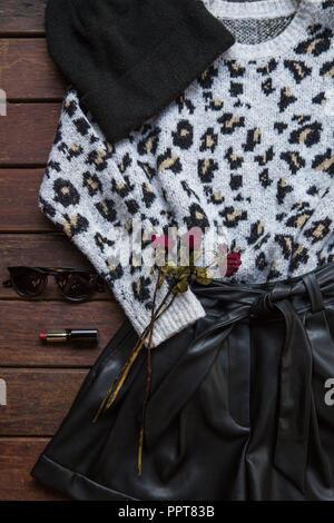 De l'automne. Vêtements Femme Mode Set. Mise à plat. Banque D'Images