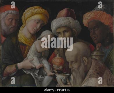 Adoration des Mages; Andrea Mantegna, italien, à propos de 1431, Padoue, Italie 1506 - 1495 - 1505; à propos; de carré sur lin Banque D'Images