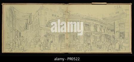 Sketchbook, Preziosi, Amadeo, 1816-1882, crayon gris, blanc, lavage, la surélévation, 1875 sketchbook par artiste maltais Preziosi Banque D'Images