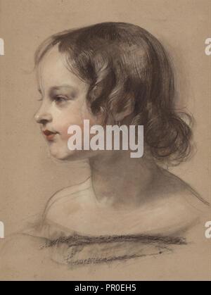 Portrait d'une jeune fille; Sir Edwin Henry Landseer, anglais, 1802 - 1873, Grande-Bretagne; 1840 - 1845; noir et blanc Banque D'Images