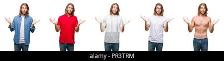 Collage de beau jeune homme portant décontractée sur fond blanc fond isolé clueless et expression confus avec les bras et les mains posées. Doute con Banque D'Images