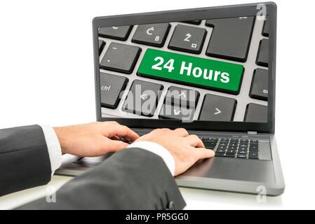 24 heures de service de l'ordinateur en ligne. Banque D'Images