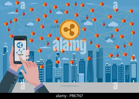 Ville moderne, symbole d'Blockchain cryptocurrency ondulation, réseau de transactions avec la monnaie d'ondulation. Au premier plan les mains avec un téléphone mobile avec le r Banque D'Images