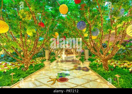Las Vegas, Nevada, United States - 18 août 2018: de belles décorations pour mariages location jardin piscine le luxueux et élégant Wynn Las Vegas Resort Hotel Casino à Las Vegas Strip. Banque D'Images