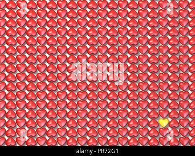 Coeurs rouges domaine et un coeur jaune illustration de rendu 3D Banque D'Images