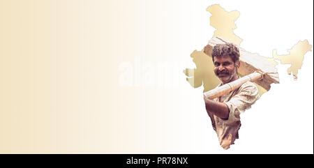 Carte Inde Agriculture.Carte De L Inde Montre Indian Farmer Holding Portrait Sur