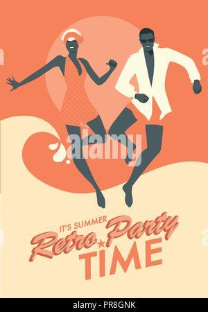 Drôle de couple portant des vêtements de bain danse et sauter sur la plage. Style rétro. Banque D'Images
