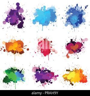 Éclaboussures d'encre colorée element set Banque D'Images