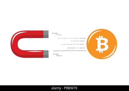 Mettre sur l'aimant avec bitcoin concept de technologie cryptocurrency vector illustration EPS10 Banque D'Images