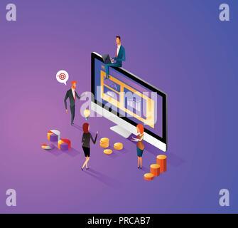 Design plat moderne concept isométrique de gérer vos données de site web et site web mobile. Modèle de page d'atterrissage, thème violet foncé. Facile à modifier et à personnaliser. Vector illustration.