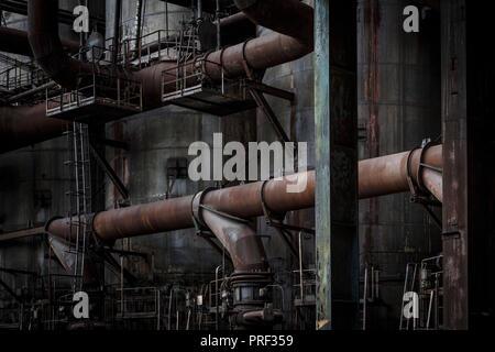 Ostrava, République tchèque - Le 21 août 2018: haut-fourneau à Vitkovice inférieur, un site national du patrimoine industriel composé d'une collection unique Banque D'Images