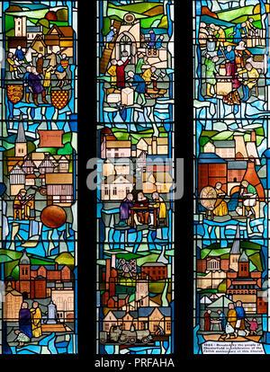 Une histoire de Chesterfield par Graham Pentelow (1986), dans la région de Sainte Marie et l'église All Saints, Chesterfield, Derbyshire, Royaume-Uni