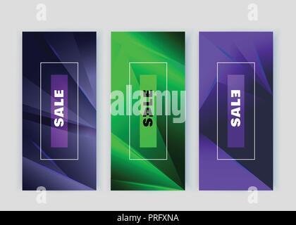 Violet vert bleu néon vertical des bannières. Éléments de conception Triangle. Abstract background Banque D'Images