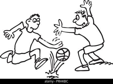 Les garçons jouent au football. décrites croquis dessin animé illustration vecteur. Banque D'Images