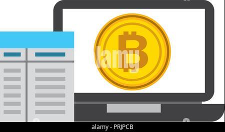 Ordinateur portable fintech contrat bitcoin Banque D'Images