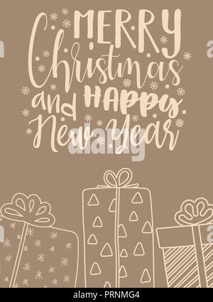 Vector illustration pour Noël et Nouvel An. Image dessinée à la main d'une caricature silhouette de cadeaux dans les tons beige avec une inscription Banque D'Images