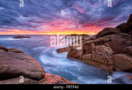 Les roches du canal Coucher du Soleil Banque D'Images