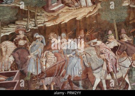 Buonamico Buffalmacco. Le Triomphe de la mort. Détail 'les vivants et les morts. 1338-39. Camposanto. Pise. L'Italie. Banque D'Images