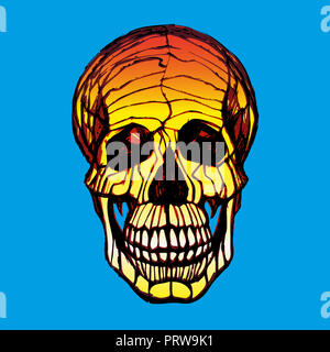 Illustration du crâne humain avec une mâchoire inférieure à l'encre à la main style. Banque D'Images