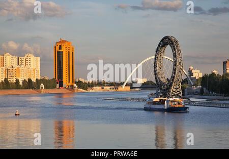 Remblai d'Ishim à Astana. Kazakhstan Banque D'Images