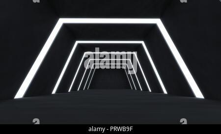 Résumé de rendu 3D et futuriste de l'espace vide d'une chambre noire avec rayures brillantes de lumière . Banque D'Images