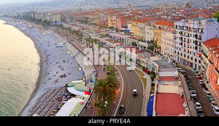Vue sur la mer Méditerranée, la Baie des Anges, Nice, France Banque D'Images