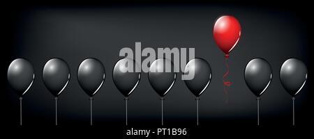 Ballon rouge voler loin de ballons noirs sur fond noir divers concept design illustration vecteur EPS10 Banque D'Images