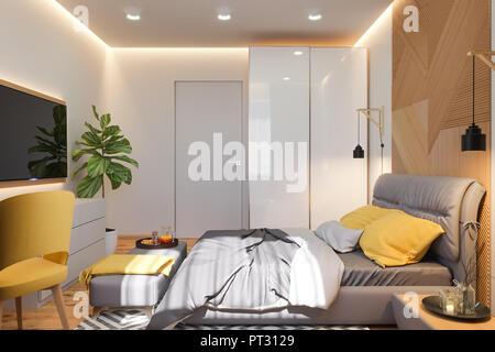 3d illustration de concept de design d'intérieur chambre à coucher dans un style scandinave. Le rendu est fait dans des couleurs vives. Les images en haute résolution pour le web et print. Banque D'Images