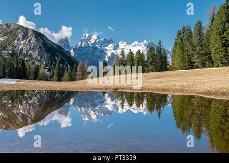 Piazza Prato / Plätzwiese, Dolomites, Tyrol du Sud, Italie, le massif du Cristallo se reflète dans une piscine au Plätzwiese Banque D'Images