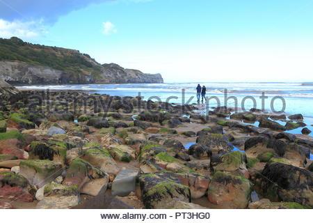 Vues côtières de Runswick Bay le long de la Route de Cleveland Way. North Yorkshire, UK. Matin d'Automne Septembre 2018 Banque D'Images
