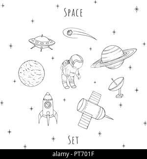 Vecteur dessiné à la main les éléments d'espace: cosmonaute, satelites, rocket, planètes, étoiles chute et OVNI. Cosmos set isolé sur le fond blanc. Banque D'Images