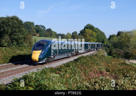 GWR Great Western Railway (800 028 têtes à travers le Malvern avec un Paddington - Hereford service le 25 septembre 2018. Banque D'Images