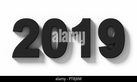 Année 2019 numéros 3d noir avec ombre isolé sur blanc - projection orthogonale - 3D Rendering Banque D'Images